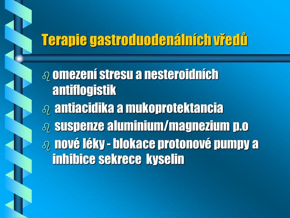 Terapie gastroduodenálních vředů b omezení stresu a nesteroidních antiflogistik b antiacidika a mukoprotektancia b suspenze aluminium/magnezium p.o b
