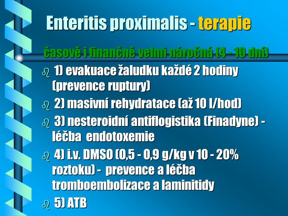 Enteritis proximalis - terapie časově i finančně velmi náročná (4 - 10 dní) časově i finančně velmi náročná (4 - 10 dní) b 1) evakuace žaludku každé 2
