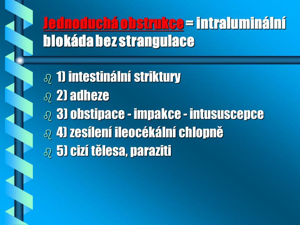 Jednoduchá obstrukce = intraluminální blokáda bez strangulace b 1) intestinální striktury b 2) adheze b 3) obstipace - impakce - intususcepce b 4) zesílení ileocékální chlopně b 5) cizí tělesa, paraziti