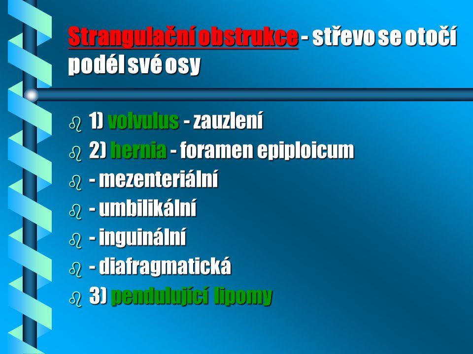 Strangulační obstrukce - střevo se otočí podél své osy b 1) volvulus - zauzlení b 2) hernia - foramen epiploicum b - mezenteriální b - umbilikální b -