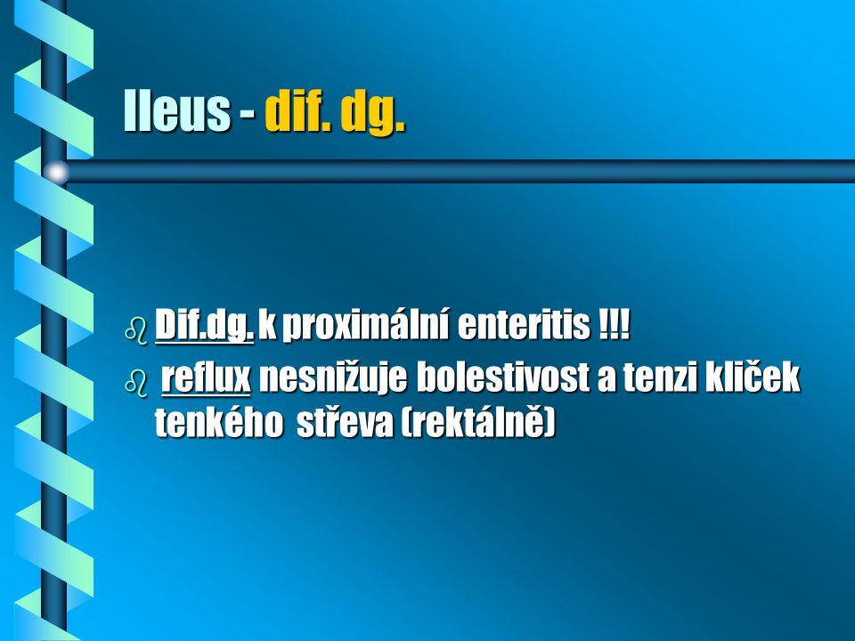 Ileus - dif. dg. b Dif.dg. k proximální enteritis !!! b reflux nesnižuje bolestivost a tenzi kliček tenkého střeva (rektálně)