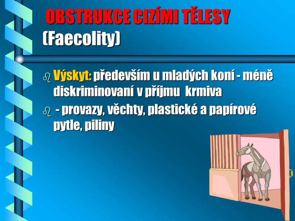OBSTRUKCE CIZÍMI TĚLESY (Faecolity) OBSTRUKCE CIZÍMI TĚLESY (Faecolity) b Výskyt: především u mladých koní - méně diskriminovaní v příjmu krmiva b - p