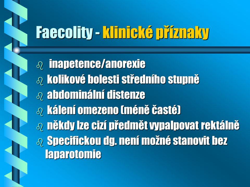 Faecolity - klinické příznaky b inapetence/anorexie b kolikové bolesti středního stupně b abdominální distenze b kálení omezeno (méně časté) b někdy l