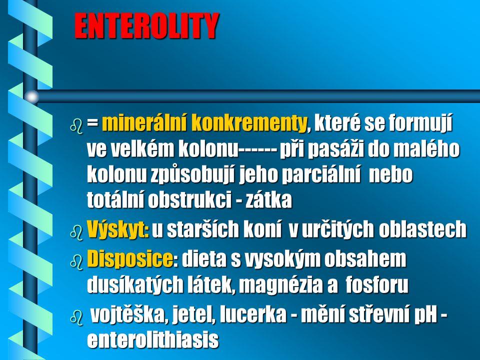 ENTEROLITY ENTEROLITY b = minerální konkrementy, které se formují ve velkém kolonu------ při pasáži do malého kolonu způsobují jeho parciální nebo tot