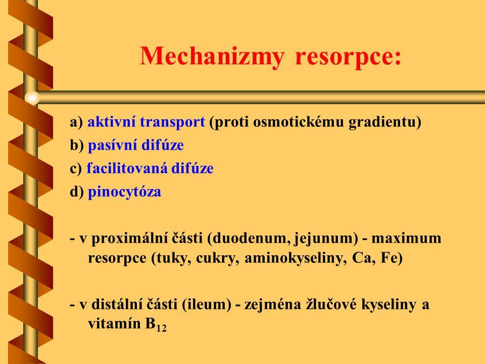 Mechanizmy resorpce: a) aktivní transport (proti osmotickému gradientu) b) pasívní difúze c) facilitovaná difúze d) pinocytóza - v proximální části (d