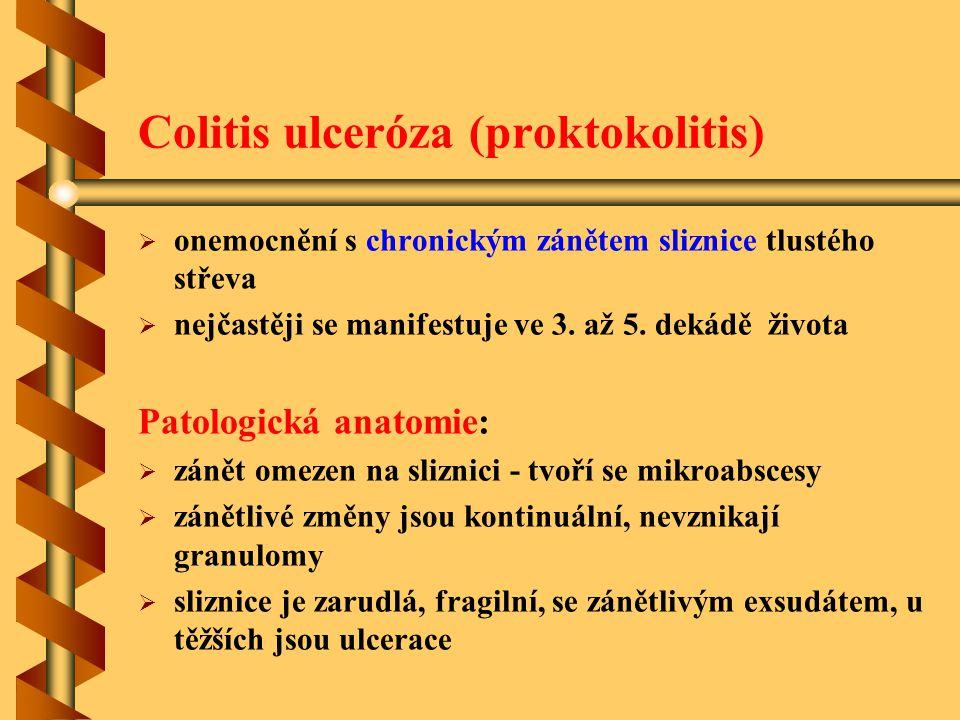 Colitis ulceróza (proktokolitis)   onemocnění s chronickým zánětem sliznice tlustého střeva   nejčastěji se manifestuje ve 3. až 5. dekádě života