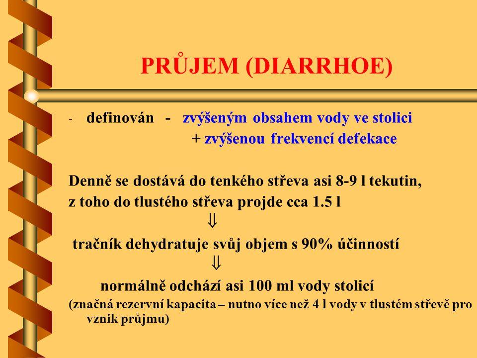 PRŮJEM (DIARRHOE) - - definován - zvýšeným obsahem vody ve stolici + zvýšenou frekvencí defekace Denně se dostává do tenkého střeva asi 8-9 l tekutin,