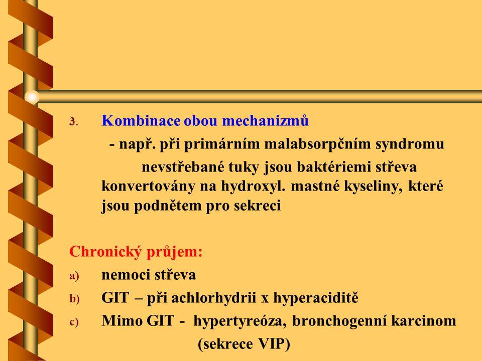 3. 3. Kombinace obou mechanizmů - např. při primárním malabsorpčním syndromu nevstřebané tuky jsou baktériemi střeva konvertovány na hydroxyl. mastné