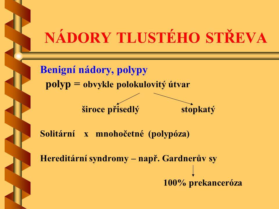 NÁDORY TLUSTÉHO STŘEVA Benigní nádory, polypy polyp = obvykle polokulovitý útvar široce přisedlý stopkatý Solitární x mnohočetné (polypóza) Hereditárn