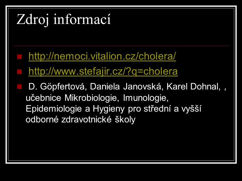 Zdroj informací http://nemoci.vitalion.cz/cholera/ http://www.stefajir.cz/?q=cholera D. Göpfertová, Daniela Janovská, Karel Dohnal,, učebnice Mikrobio