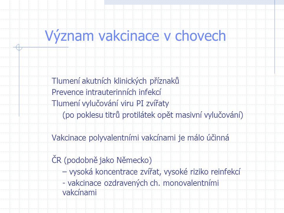 Význam vakcinace v chovech Tlumení akutních klinických příznaků Prevence intrauterinních infekcí Tlumení vylučování viru PI zvířaty (po poklesu titrů