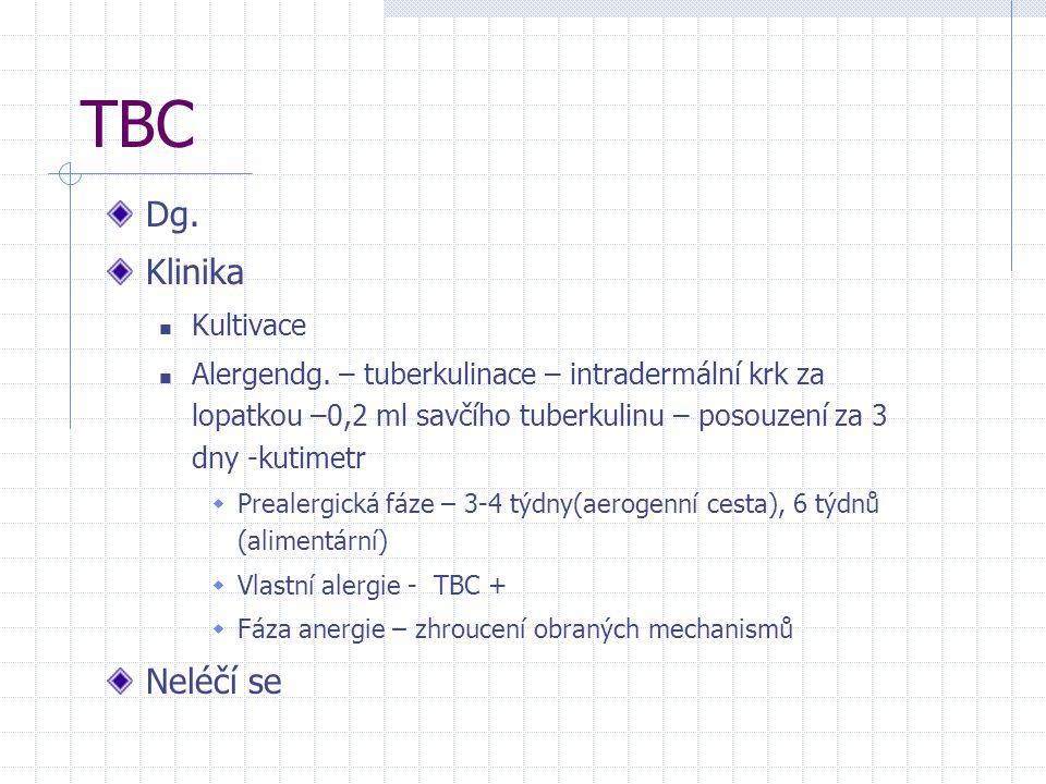 TBC Dg. Klinika Kultivace Alergendg. – tuberkulinace – intradermální krk za lopatkou –0,2 ml savčího tuberkulinu – posouzení za 3 dny -kutimetr  Prea