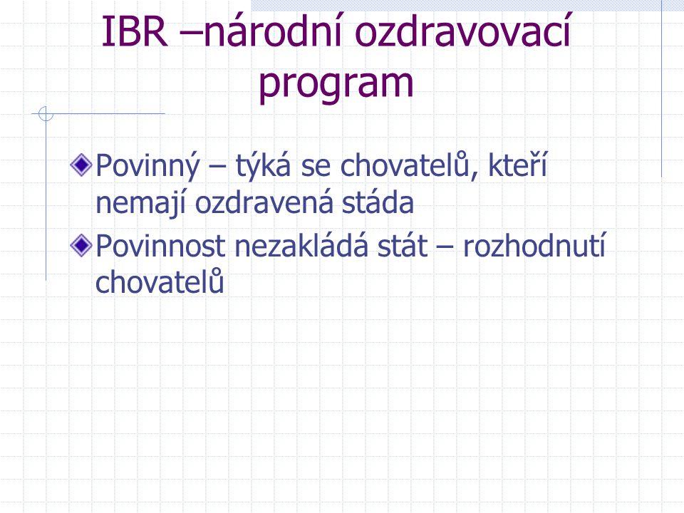 IBR –národní ozdravovací program Povinný – týká se chovatelů, kteří nemají ozdravená stáda Povinnost nezakládá stát – rozhodnutí chovatelů