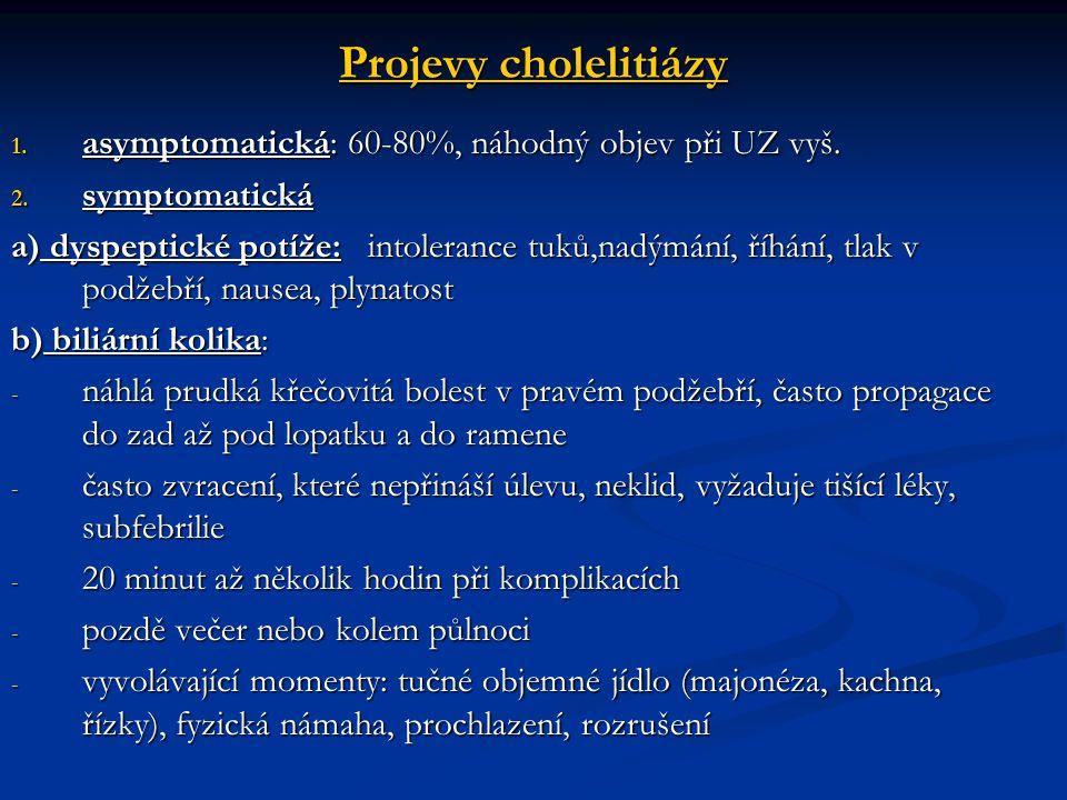 Projevy cholelitiázy 1. asymptomatická: 60-80%, náhodný objev při UZ vyš. 2. symptomatická a) dyspeptické potíže: intolerance tuků,nadýmání, říhání, t