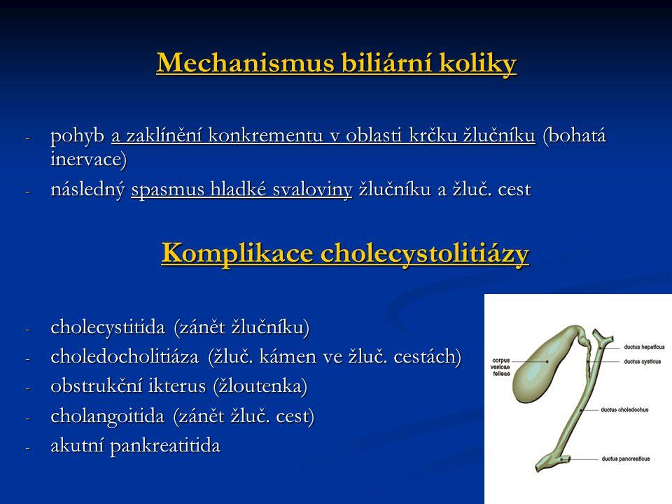 Mechanismus biliární koliky - pohyb a zaklínění konkrementu v oblasti krčku žlučníku (bohatá inervace) - následný spasmus hladké svaloviny žlučníku a