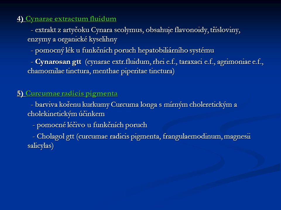 4) Cynarae extractum fluidum - extrakt z artyčoku Cynara scolymus, obsahuje flavonoidy, třísloviny, enzymy a organické kyselihny - extrakt z artyčoku