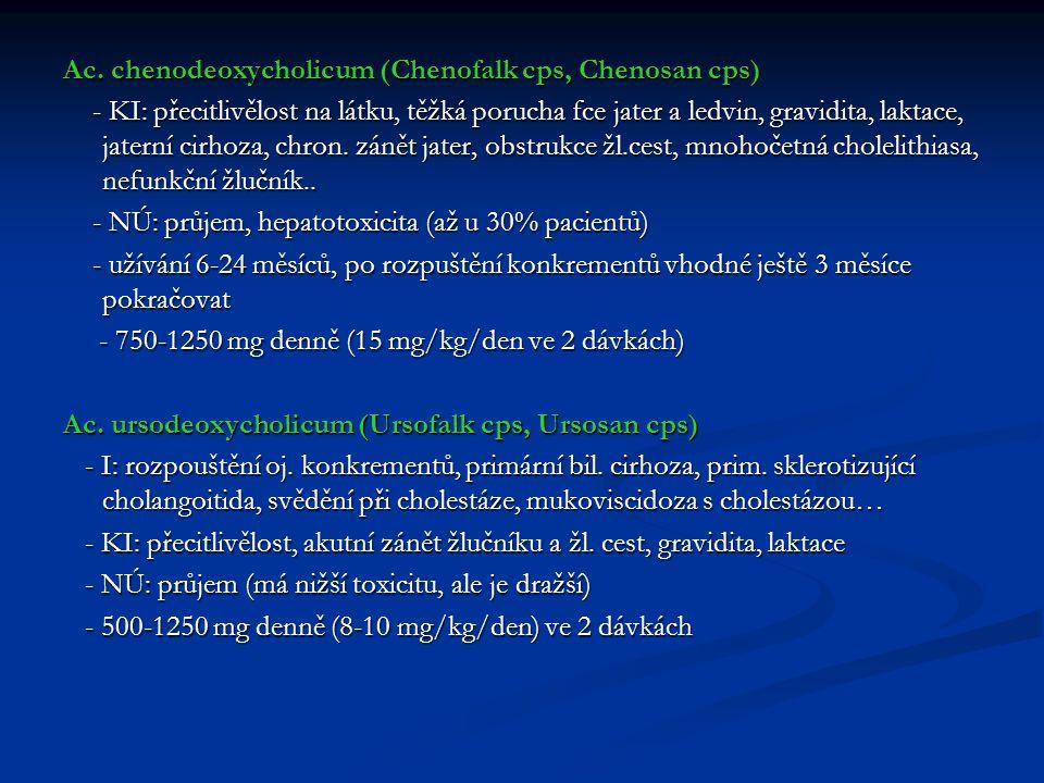Ac. chenodeoxycholicum (Chenofalk cps, Chenosan cps) - KI: přecitlivělost na látku, těžká porucha fce jater a ledvin, gravidita, laktace, jaterní cirh