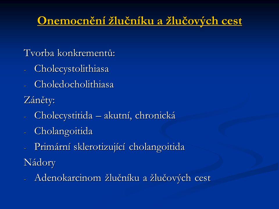 Onemocnění žlučníku a žlučových cest Tvorba konkrementů: - Cholecystolithiasa - Choledocholithiasa Záněty: - Cholecystitida – akutní, chronická - Chol