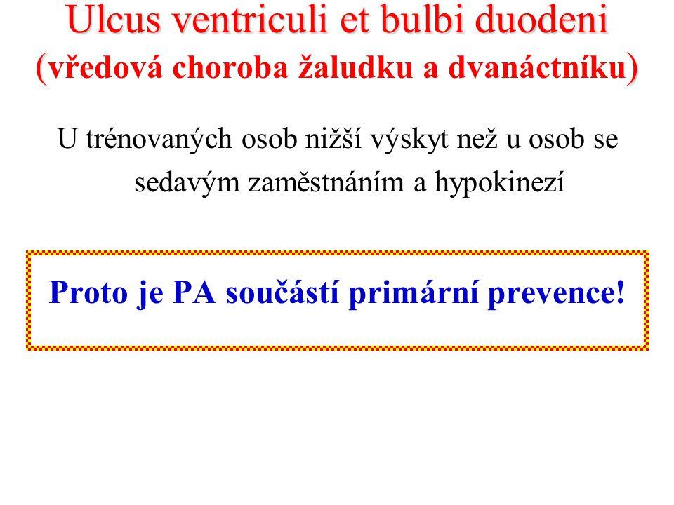 Ulcus ventriculi et bulbi duodeni () Ulcus ventriculi et bulbi duodeni ( vředová choroba žaludku a dvanáctníku ) U trénovaných osob nižší výskyt než u osob se sedavým zaměstnáním a hypokinezí Proto je PA součástí primární prevence!