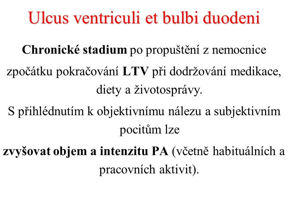 Ulcus ventriculi et bulbi duodeni Chronické stadium po propuštění z nemocnice zpočátku pokračování LTV při dodržování medikace, diety a životosprávy.