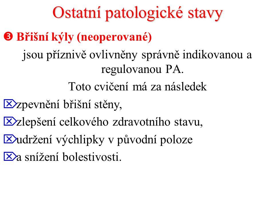 Ostatní patologické stavy  Břišní kýly (neoperované) jsou příznivě ovlivněny správně indikovanou a regulovanou PA. Toto cvičení má za následek  zpev