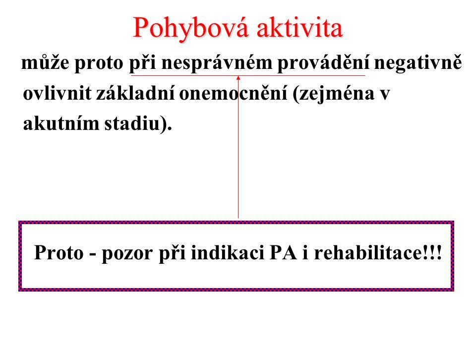 Pohybová aktivita může proto při nesprávném provádění negativně ovlivnit základní onemocnění (zejména v akutním stadiu). Proto - pozor při indikaci PA