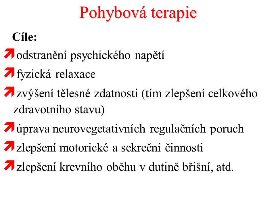 Pohybová terapie Cíle:  odstranění psychického napětí  fyzická relaxace  zvýšení tělesné zdatnosti (tím zlepšení celkového zdravotního stavu)  úpr