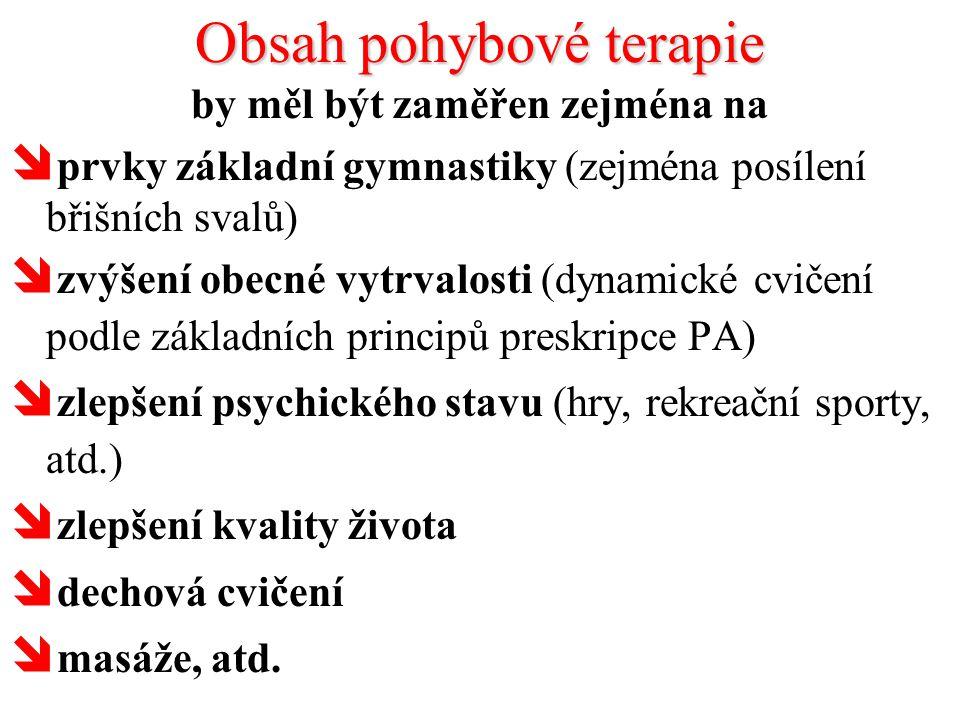 Obsah pohybové terapie by měl být zaměřen zejména na  prvky základní gymnastiky (zejména posílení břišních svalů)  zvýšení obecné vytrvalosti (dynam