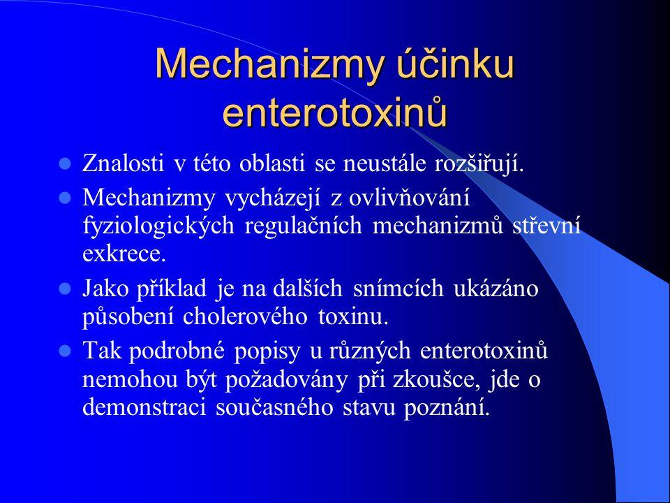 Mechanizmy účinku enterotoxinů Znalosti v této oblasti se neustále rozšiřují. Mechanizmy vycházejí z ovlivňování fyziologických regulačních mechanizmů
