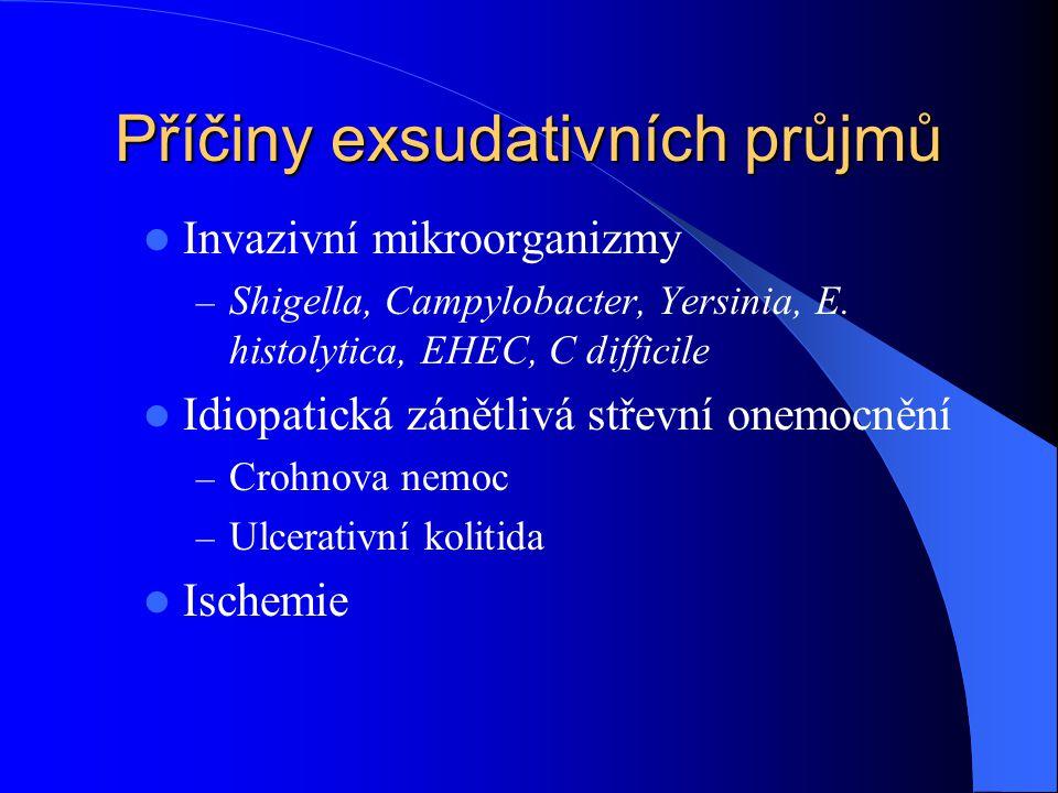 Příčiny exsudativních průjmů Invazivní mikroorganizmy – Shigella, Campylobacter, Yersinia, E. histolytica, EHEC, C difficile Idiopatická zánětlivá stř