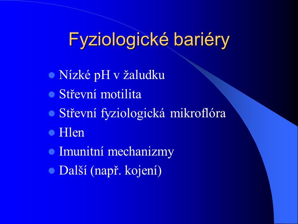 Fyziologické bariéry Nízké pH v žaludku Střevní motilita Střevní fyziologická mikroflóra Hlen Imunitní mechanizmy Další (např. kojení)