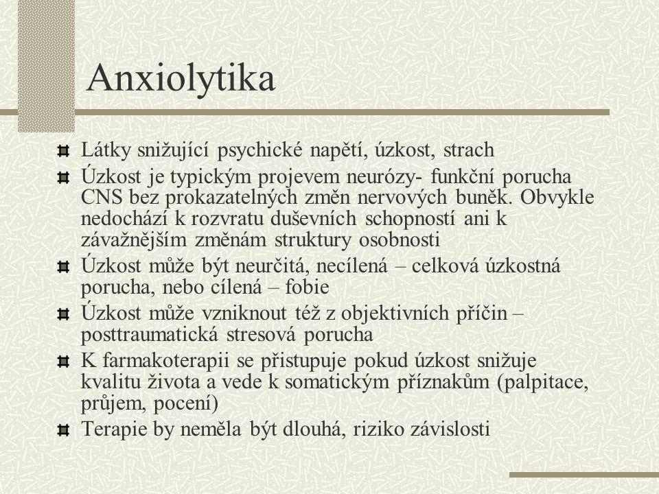 Anxiolytika Látky snižující psychické napětí, úzkost, strach Úzkost je typickým projevem neurózy- funkční porucha CNS bez prokazatelných změn nervovýc