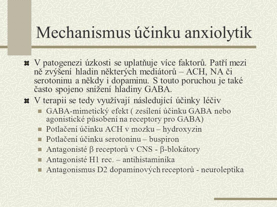 Benzodiazepiny Nejčastěji užívaná skupina anxiolytik Anxiolytické, hypnosedativní, protikřečové, myorelaxační účinky – tyto účinky u jednotlivých látek zastoupeny v různé míře Rozdělení dle délky účinku Dlouhý účinek – více než 12 hod – diazepam, klonazepam, chlordiazepoxid Střední účinek- 6-8 hod.- nitrazepam, flunitrazepam, alprazolam Krátký účinek – do 2 hod.- oxazepam, triazolam Látky se střední dobou účinku nejvyšší riziko závislosti Některé benzodiazepiny se v organismu biotransformují na aktivní metabolity, což vede k prodloužení účinku