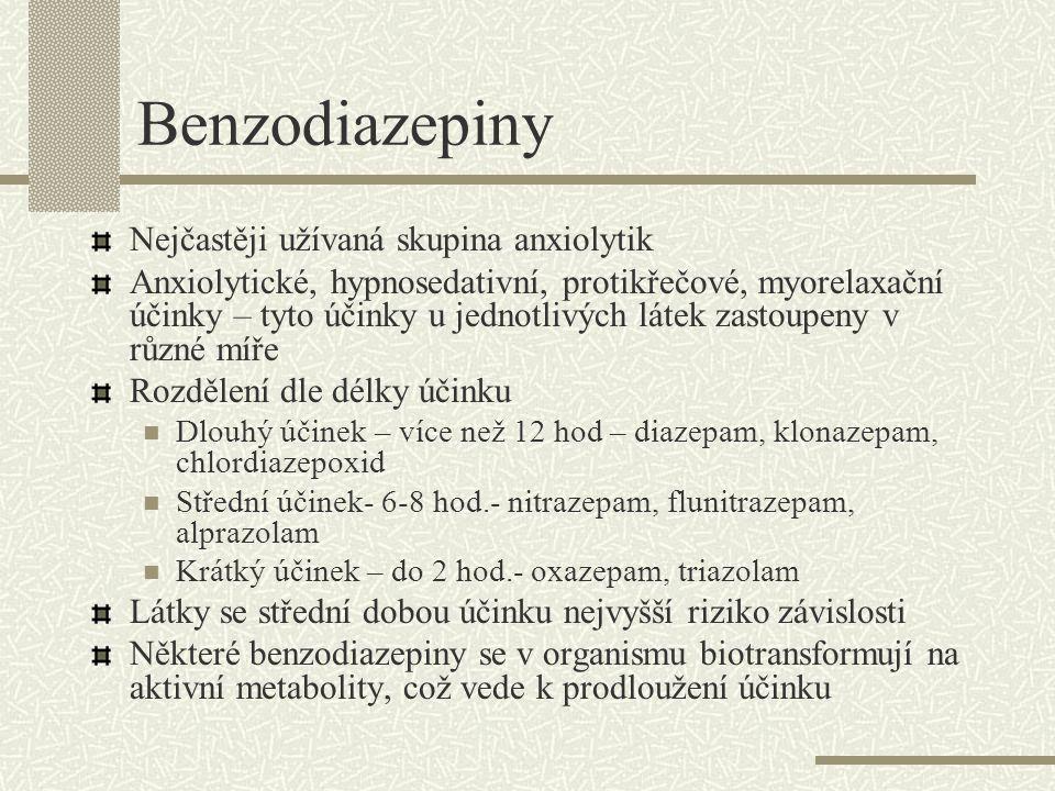 Benzodiazepiny Nejčastěji užívaná skupina anxiolytik Anxiolytické, hypnosedativní, protikřečové, myorelaxační účinky – tyto účinky u jednotlivých láte