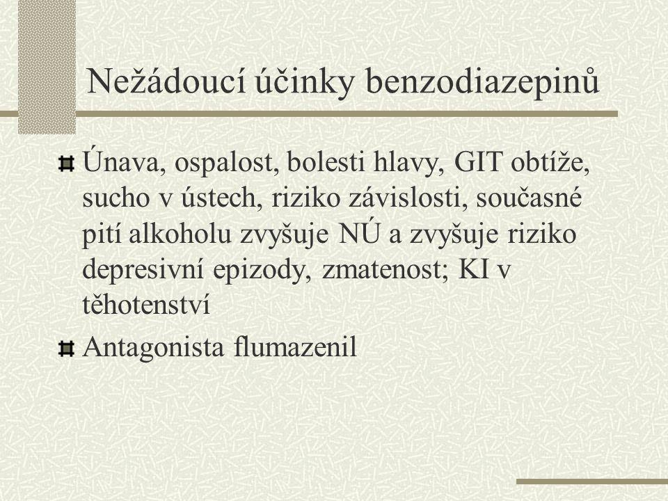 Zástupci benzodiazepinů Diazepam – Diazepam tbl., Apaurin inj., též antiepileptikum Oxazepam – Oxazepam tbl Medazepam – Ansilan tbl Chlordiazepoxid – Defobin tbl Bromazepam – Lexaurin tbl Lorazepam Alprazolam – Frontin tbl, Neurol, Xanax též antidepresivum, málo nú vhodný v geriatrii a nemocí KVS Tofizopam – Grandaxin tbl, nemá myorelaxační a jen málo sedativní účinky Clonazepam – Rivotril tbl., často jako antiepileptikum Klobazam – akutní krize, silný antikonvulzivní efekt