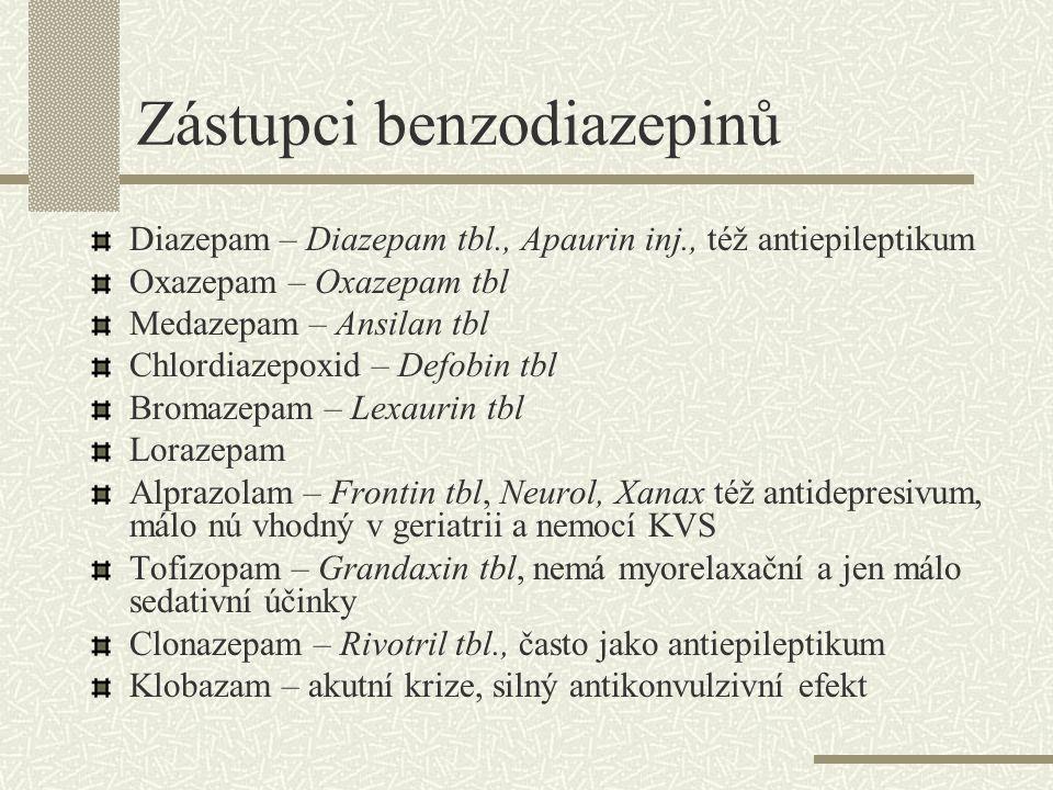 Další látky Hydroxyzin – Atarax tbl, anxiolytikum, sedativum, antiemetikum, antivertiginózum Buspiron – Anxiron, Buspiron-Egis tbl, ovlivňuje serotoninové receptory, pomalejší nástup účinku, zvýrazněny anxiolytické účinky, též antidepresivní působení Sedativní neuroleptika  -blokátory – vhodné pokud úzkost spojena se somatickými projevy –bušení srdce, třes, průjem Guaifenesin – Guajacuran tbl slabší anxiolytikum a myorelaxans, též expektorační účinky, obvykle bez nú, vhodný i u některých bolestí hlavy.