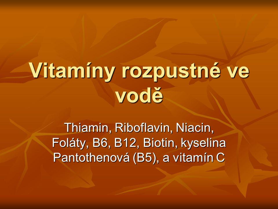 Vitamíny rozpustné ve vodě Thiamin, Riboflavin, Niacin, Foláty, B6, B12, Biotin, kyselina Pantothenová (B5), a vitamín C