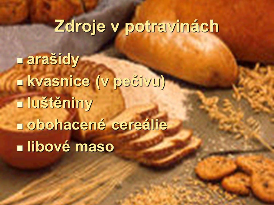Zdroje v potravinách arašídy arašídy kvasnice (v pečivu) kvasnice (v pečivu) luštěniny luštěniny obohacené cereálie obohacené cereálie libové maso lib