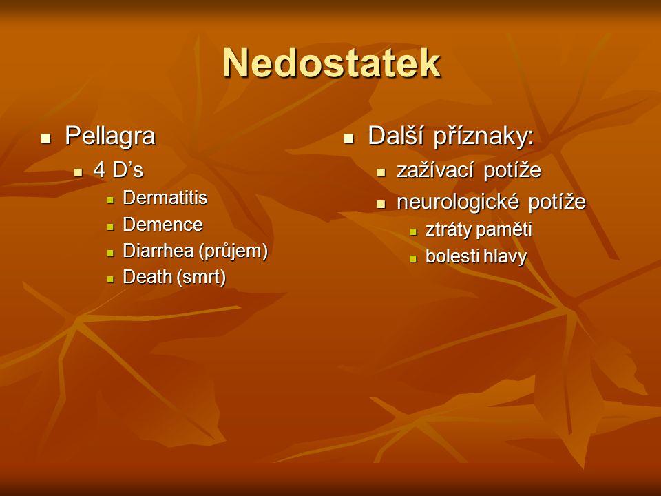 Nedostatek Pellagra Pellagra 4 D's 4 D's Dermatitis Dermatitis Demence Demence Diarrhea (průjem) Diarrhea (průjem) Death (smrt) Death (smrt) Další pří