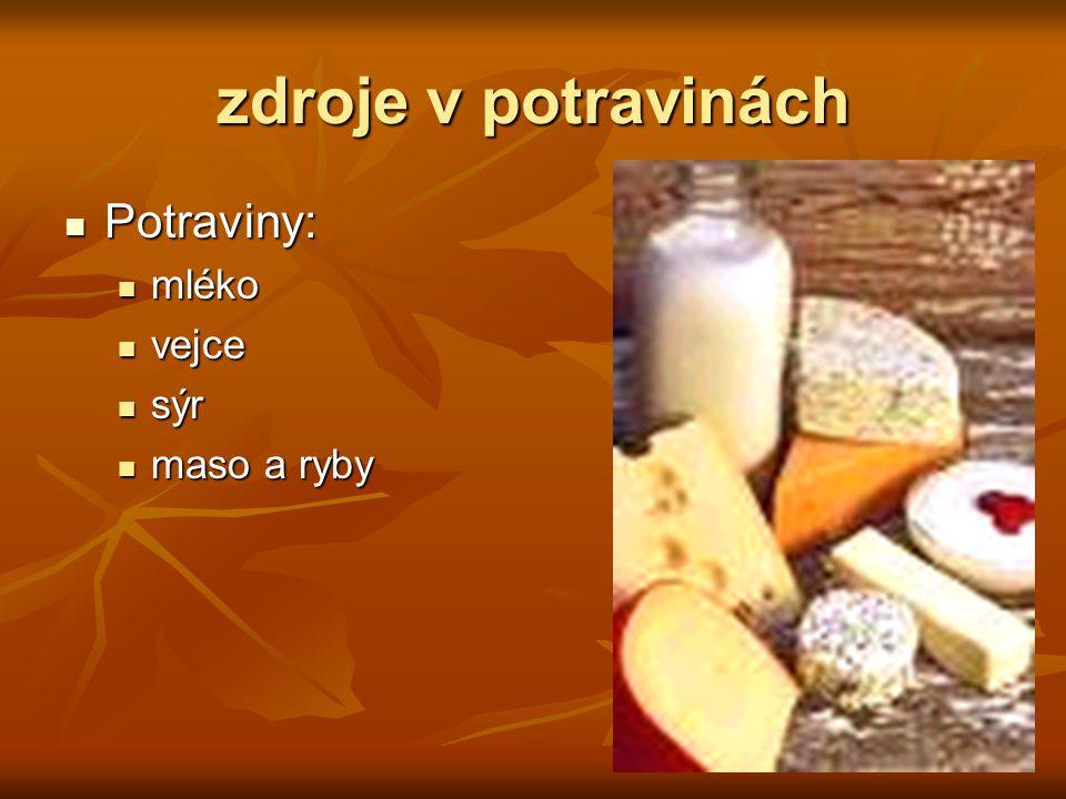 zdroje v potravinách Potraviny: Potraviny: mléko mléko vejce vejce sýr sýr maso a ryby maso a ryby