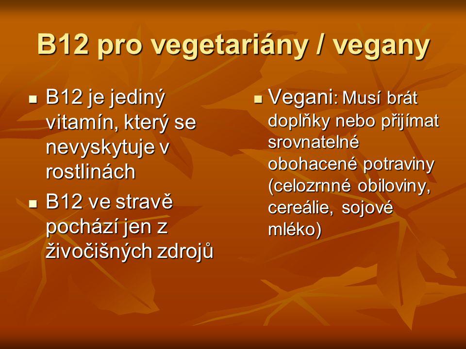 B12 pro vegetariány / vegany B12 je jediný vitamín, který se nevyskytuje v rostlinách B12 je jediný vitamín, který se nevyskytuje v rostlinách B12 ve