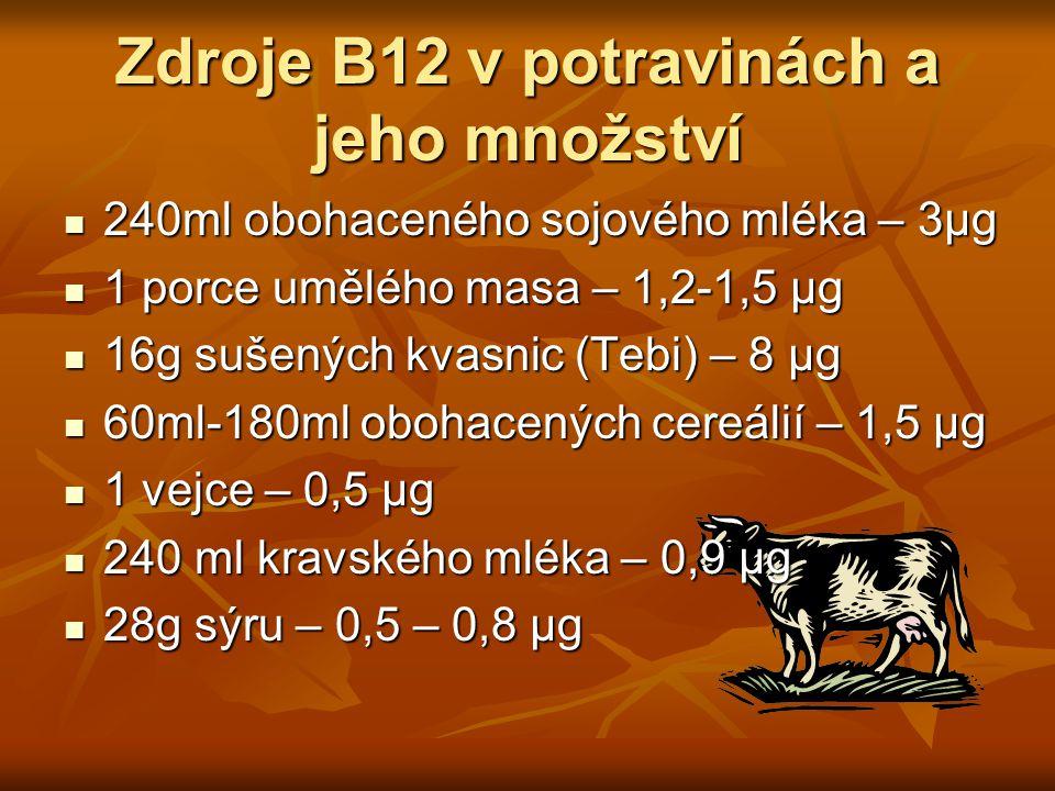Zdroje B12 v potravinách a jeho množství 240ml obohaceného sojového mléka – 3μg 240ml obohaceného sojového mléka – 3μg 1 porce umělého masa – 1,2-1,5