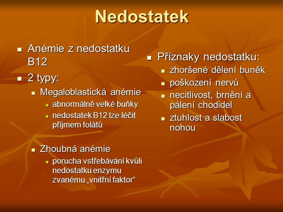Nedostatek Anémie z nedostatku B12 Anémie z nedostatku B12 2 typy: 2 typy: Megaloblastická anémie Megaloblastická anémie abnormálně velké buňky abnorm