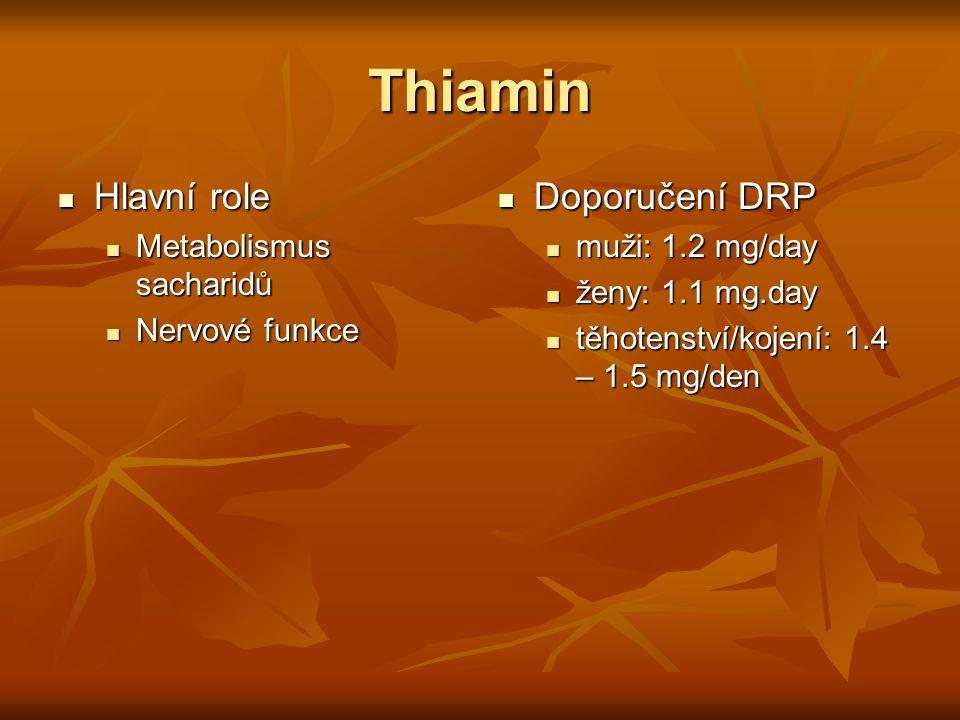 Thiamin Hlavní role Hlavní role Metabolismus sacharidů Metabolismus sacharidů Nervové funkce Nervové funkce Doporučení DRP Doporučení DRP muži: 1.2 mg