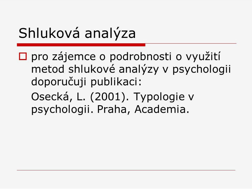 Shluková analýza  pro zájemce o podrobnosti o využití metod shlukové analýzy v psychologii doporučuji publikaci: Osecká, L. (2001). Typologie v psych