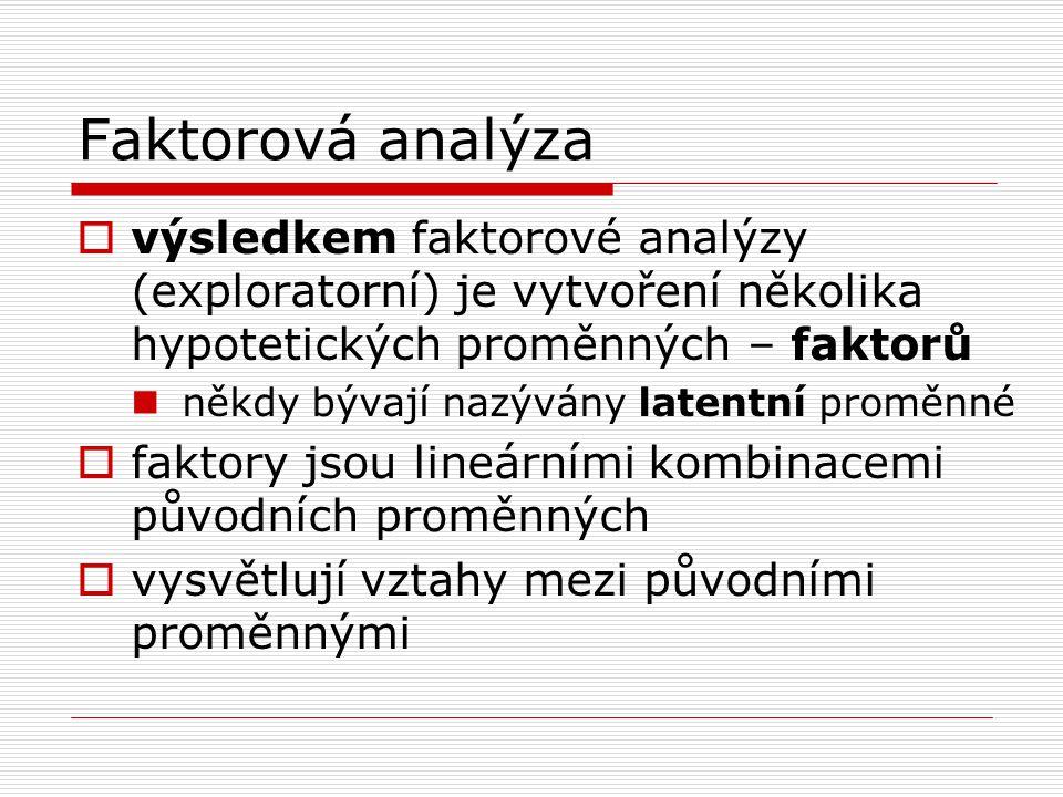 Faktorová analýza  výsledkem faktorové analýzy (exploratorní) je vytvoření několika hypotetických proměnných – faktorů někdy bývají nazývány latentní