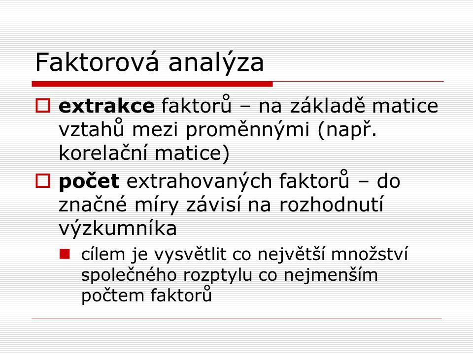 Faktorová analýza  extrakce faktorů – na základě matice vztahů mezi proměnnými (např. korelační matice)  počet extrahovaných faktorů – do značné mír