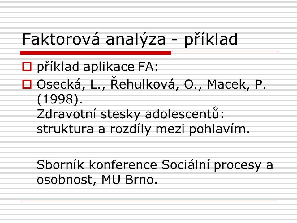 Faktorová analýza - příklad  příklad aplikace FA:  Osecká, L., Řehulková, O., Macek, P. (1998). Zdravotní stesky adolescentů: struktura a rozdíly me