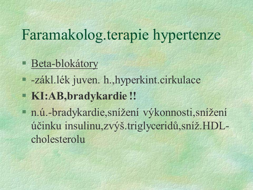 Faramakolog.terapie hypertenze §Beta-blokátory §-zákl.lék juven.