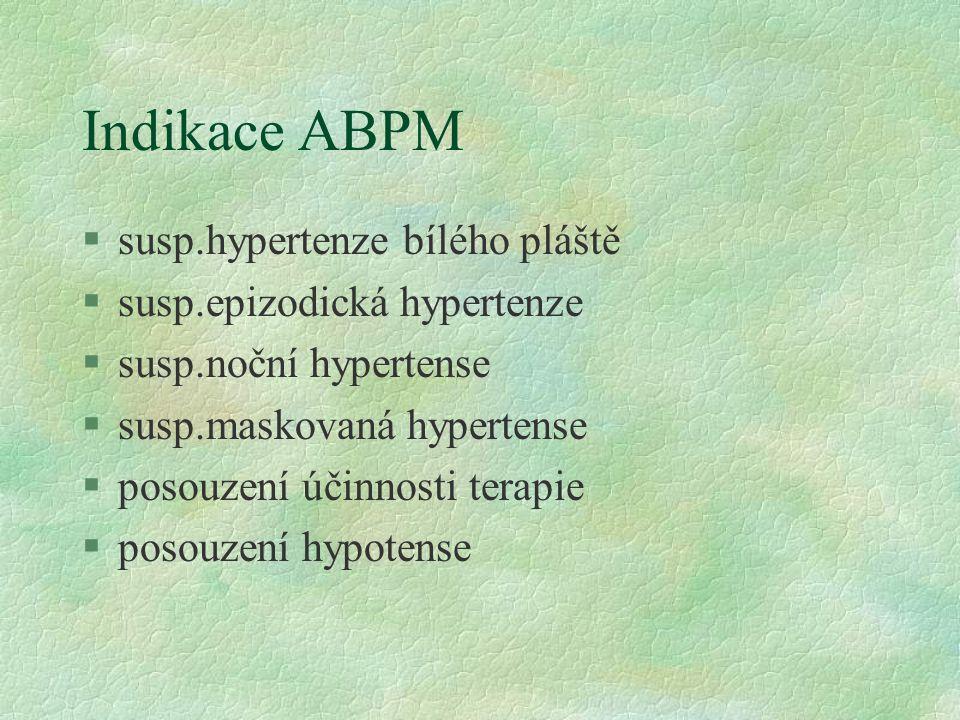 Indikace ABPM §susp.hypertenze bílého pláště §susp.epizodická hypertenze §susp.noční hypertense §susp.maskovaná hypertense §posouzení účinnosti terapie §posouzení hypotense